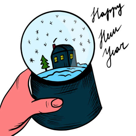 Graphic illustration, new year's glass ball in hand, holiday paraphernalia.