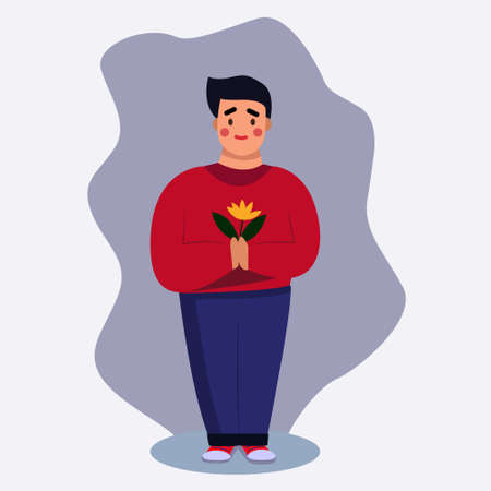 A man in a red sweater holds a flower in his hands. The concept of a character in full growth