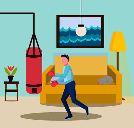The guy goes in for sport at home. Box at home. Vector illustration showing physical activity.