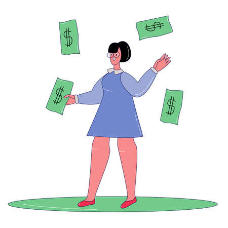 girl with a bill of money in her hands