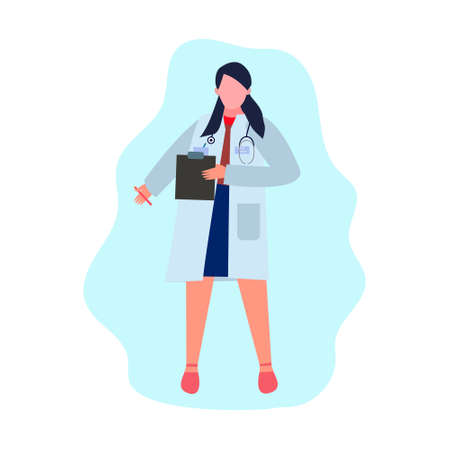 Vector illustration. Doctor a woman stands with a tablet in a medical mask and dressing gown. The doctor has a stethoscope around his neck
