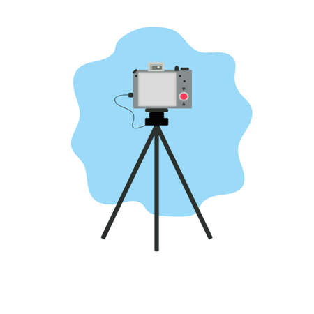 Vector image of a camera for shooting a blogger or photographer. Image of the instrument. Technic