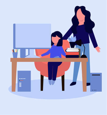 Mom checks homework of daughter. Vector illustration in flat style. Studying remotely 向量圖像