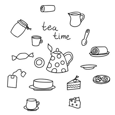 Tea Doodle set of various elements, black and white graphics, linear drawing, set of tea items