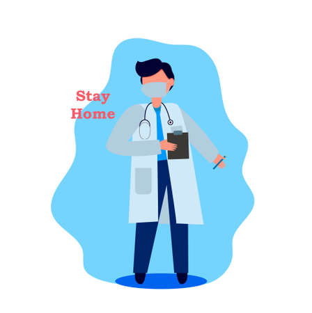 Vector illustration. A male doctor stands with a tablet in a medical mask and dressing gown. The doctor has a stethoscope around his neck 向量圖像