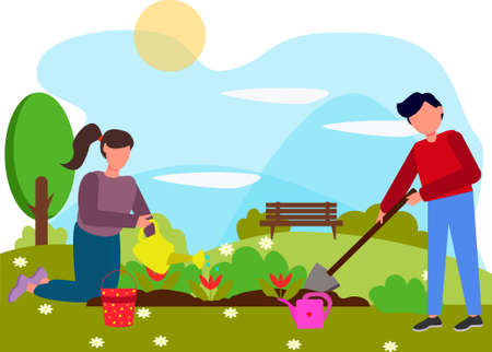 a woman waters and plants flowers on the land plot. The husband helps his wife plant flowers and drips earth for seedlings. The concept of a summer holiday and unity with nature
