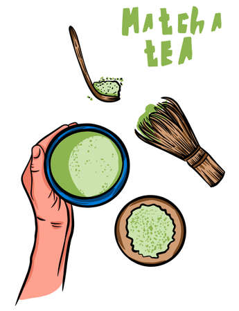Vector frame with tea. Japanese tea ceremony. Matcha Tea Set. Isolated Object.