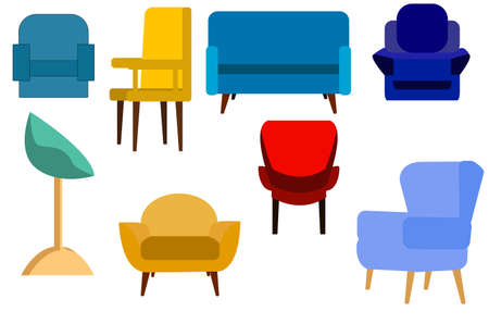 Colorful cartoon chairs set isolated on white background.Chair set. Comfortable empty chairs collection.