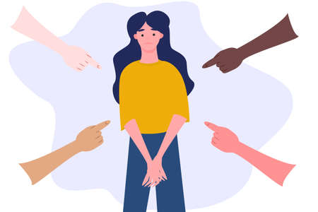 Vector illustration of social public condemnation of young woman. Sad or depressed young woman surrounded by hands with index fingers pointing at her.