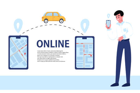 Order a taxi online using your phone. Illustration with phones and a male Manager. Vector flat