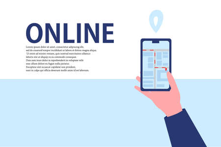 Order Taxi Online. Illustration with hand holding smartphone