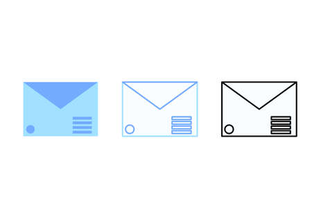Set mail envelope icon in color style, black and white line and color line. Vector