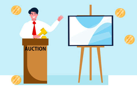 Man Auctioneer with Gavel. Sales in Art Gallery. People Buyers Bargain for Picture. Vector Flat Illustration.