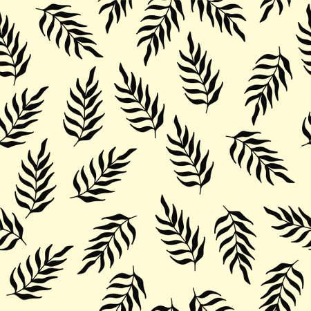 Leaves vector seamless pattern. Black brush leaves.