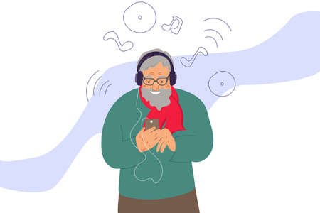 an elderly retired man listens to music on his phone with headphones. Simple flat vector