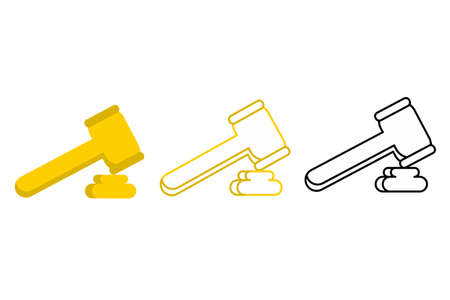 Set of icons for the judge's hammer in color style, color line and black and white line. Vector illustration