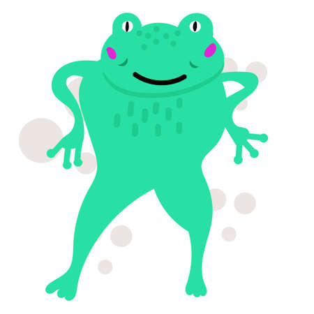 Funny green frog hand drawn vector illustration, cartoon character. Animal isolated on white background. Childish t shirt print design Ilustração