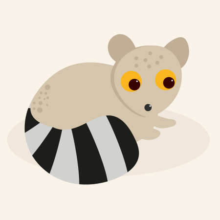 Small cute lemur hand-drawn in simple style, vector illustration for children's book, greeting card 向量圖像