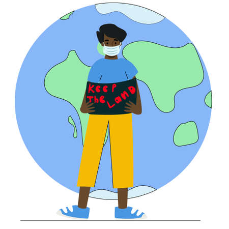 Conservationist with a poster in her hands, eco-Activist on the background of planet earth, a man in a mask at a rally. Vector flat illustration