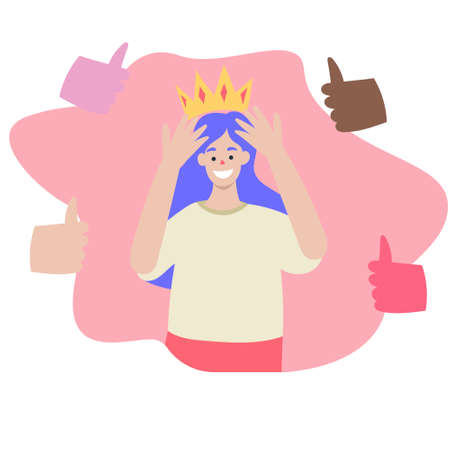 The girl on the head put on a crown, happy girl, get recognition. approval, get a like in social networks. Vector flat illustration