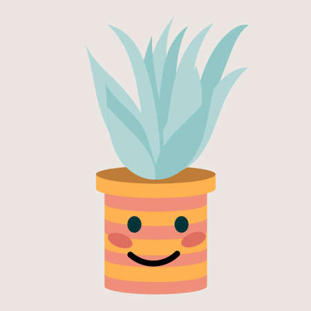 flower pot with cute smile, vector illustration