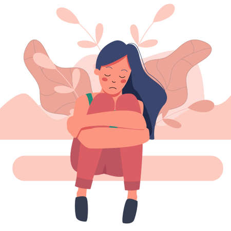 Vector cartoon illustration of sad girl sitting and unhappily hugging her knees. Woman in depression. girl sitting on background of abstract flowers Illusztráció