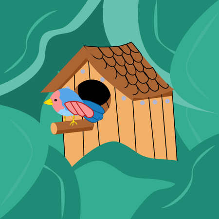 a bird sits on a perch in a birdhouse among the foliage from the trees, spring illustration