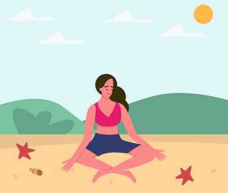 A girl practices yoga on the beach, asana. Yoga poses, yoga in nature. Meditation by the water