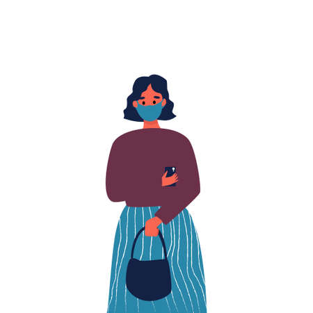 A girl with a phone and a bag in her hands, a girl in a protective medical mask