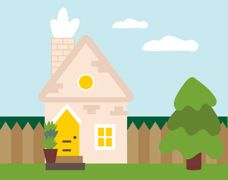 Cute spring and summer landscape. Beautiful vector house