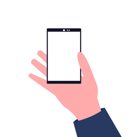 Hand holding a smartphone with a blank white screen Illusztráció