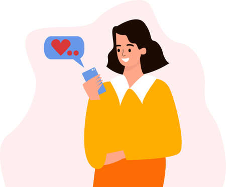 A girl with a phone in her hands. Correspondence in the phone, a message to the phone. The girl received a message from her lover