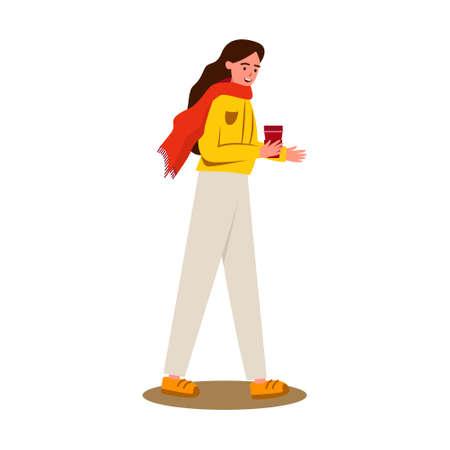 Girl with a reusable coffee mug, flat vector
