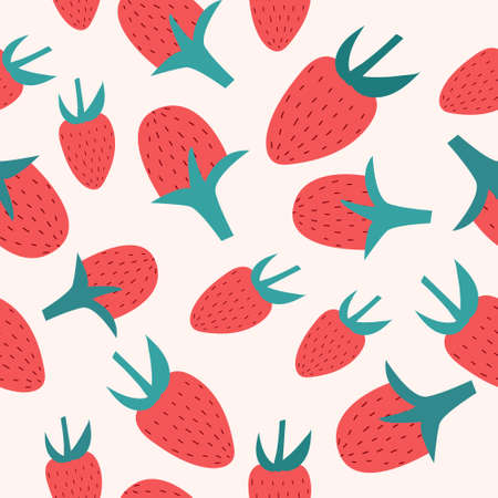 Seamless background with red strawberries. Hand drawn vector