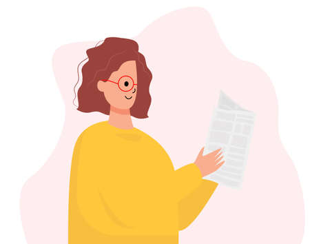 Woman reading daily newspaper. Modern flat colorful vector illustration.