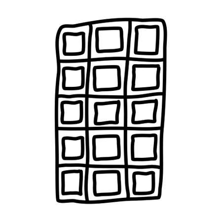Single hand-drawn chocolate bar tiles for children's illustration. Doodle vector illustration. Isolated on a white background, black and white graphics