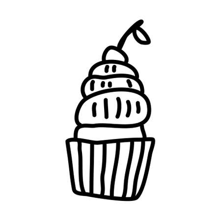 Single hand-drawn cupcake for children's illustration. Doodle vector illustration. Isolated on a white background, black and white graphics