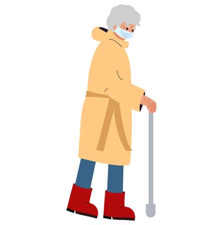 an elderly woman with a walking stick. Old lady flat vector illustration. Illusztráció