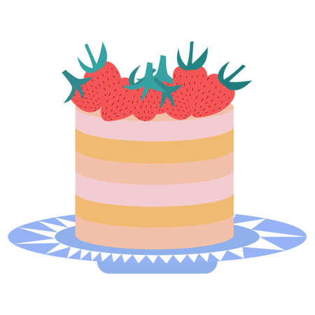 Cute vector cake hand drawn in doodle style decorated with strawberries