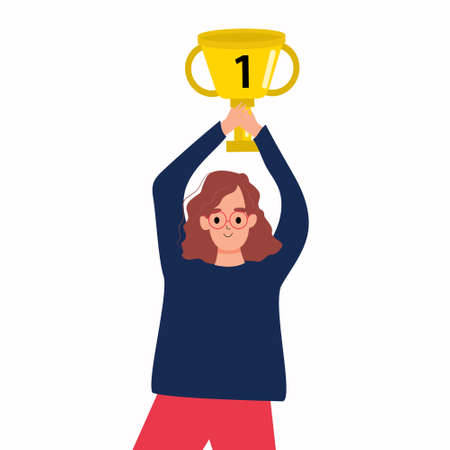 A girl with a winner's cup in her hands. A woman celebrates her victory