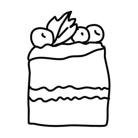 One hand-drawn piece of cake with berries .Doodle vector illustration. Isolated on a white background, black and white graphics