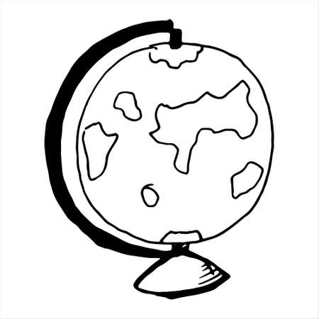 One hand-drawn globe .Doodle vector illustration. Isolated on a white background, black and white graphics Illusztráció