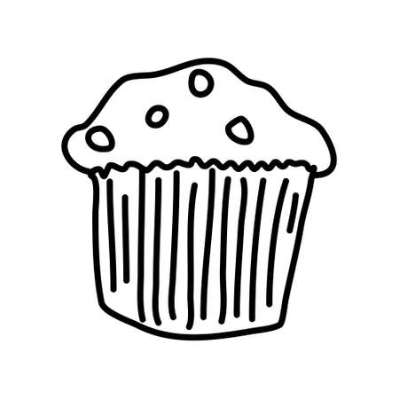 One hand-drawn cupcake. Doodle vector illustration. Isolated on a white background, black and white graphics