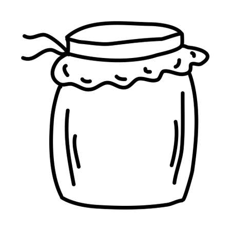 One hand-drawn jam jar. Doodle vector illustration. Isolated on a white background, black and white graphics