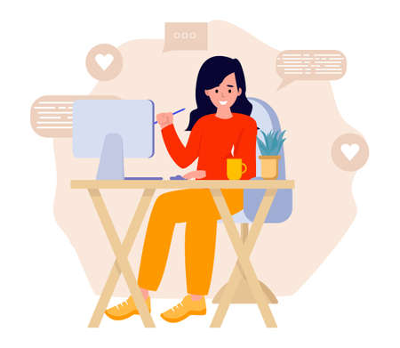 Beautiful young woman working on laptop computer while sitting at the living room in the house. Flat vector concept illustration isolated on white
