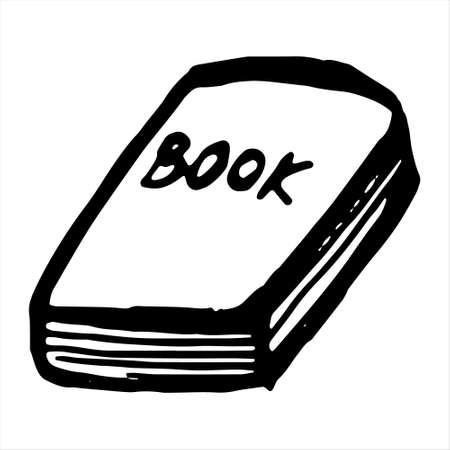 One hand-drawn book. Doodle vector illustration. Isolated on a white background, black and white graphics