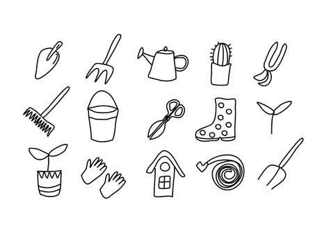 a large set of doodle icons of garden tools drawn by hand. Bucket, seedling, rake, shovel, garden hose, birdhouse, watering can, pitchfork, Rake