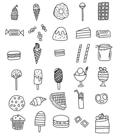 a large set of doodle icons of sweets drawn by hand. Ice cream, cake, donut, cookie, croissant