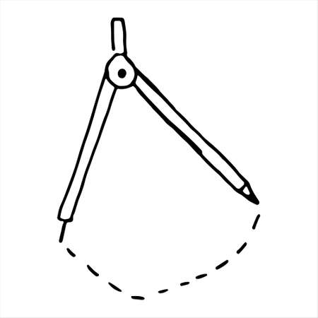 One hand-drawn compass. Doodle vector illustration. Isolated on a white background, black and white graphics