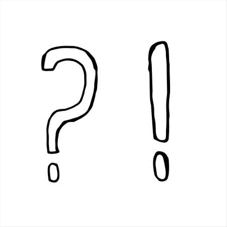 One hand-drawn question mark and exclamation mark. Doodle vector illustration. Isolated on a white background, black and white graphics